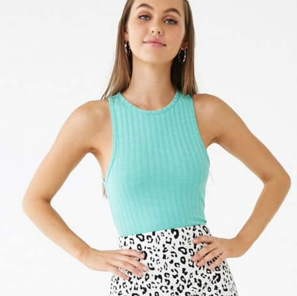 Forever 21 Tops - 🖤SEXY AQUA RIBBED CROPPED TANK NEW S, M & L🖤